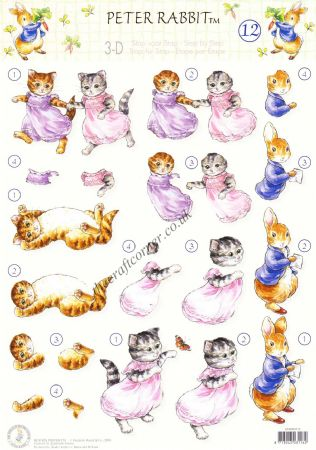 Beatrix Potter's Peter Rabbit 12 Peter Rabbit and Kittens 3D Decoupage Sheet.